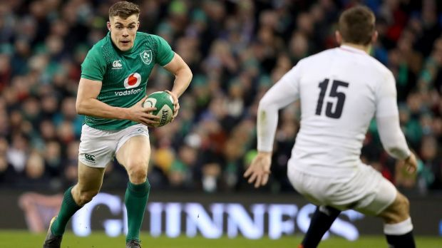 Ireland's Garry Ringrose in action against in their defeat to England at the Aviva last weekend. Photograph: Dan Sheridan/Inpho