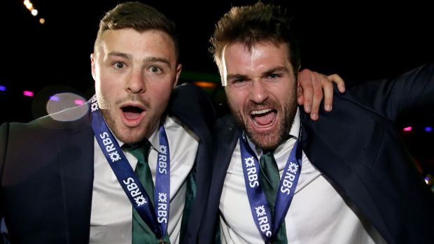 Ireland's Robbie Henshaw and Jared Payne celebrate their Grand Slam victory in the 2015 Six Nations. Photograph: Dan Sheridan/Inpho
