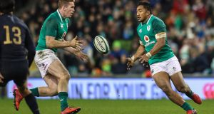 Chris Farrell and Bundee Aki team up for the third time in the centre at Murrayfield today. Photograph: Billy Stickland/Inpho