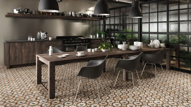 Lapicida's Comillas Natura patterned floor tiles