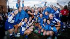 St Andrew's celebrate their victory over Wesley College in the final of the Leinster Schoolgirls' Senior Cup Final at Three Rock Rovers Hockey Club. Photograph: Ryan Byrne/Inpho