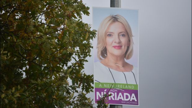 A poster of presidential candidate Liadh Ní Riada in Waterford. Photograph: Bryan O'Brien