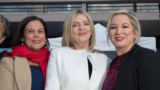 McDonald with Sinn Féin's presidential candidate Liadh Ní Riada and deputy leader Michelle O'Neill at Dublin Castle. Photograph: Tom Honan