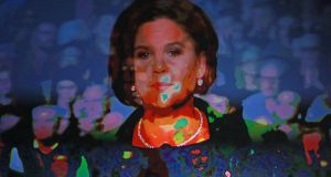 Mary Lou McDonald on the screen during the Sinn Féin special ardfheis held in the RDS. Photograph: Nick Bradshaw