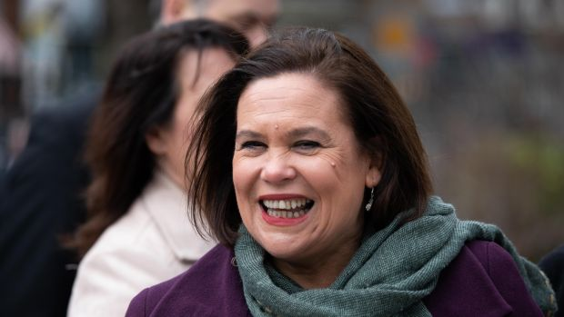 Mary Lou McDonald arriving for the first Dáil centenary commemoration. Photograph: Tom Honan
