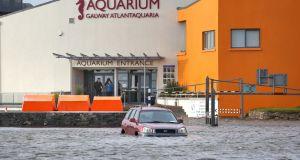 The flooded car park at Toft Park behind the Galway Atlantaquaria in Salthill, Galway, during Storm Erik on Friday. Photograph: Joe O'Shaughnessy