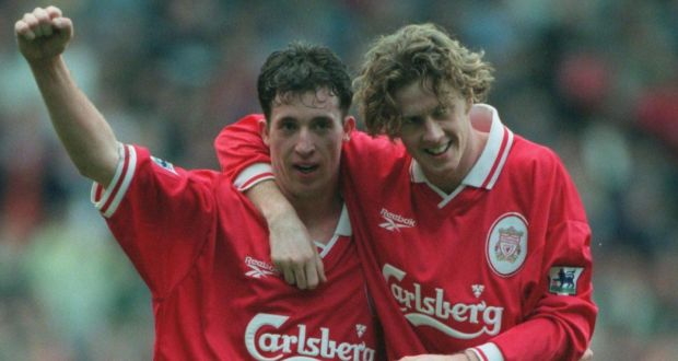 1e16281fa Robbie Fowler and Steve McManaman in 1997. Photograph  Inpho Allsport