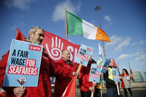 BETTER WAGES: Dean Gaffney with fellow SIPTU members as they gathered in Dublin Port to hold protest demanding decent wages for seafarers. They assembled near the Irish Ferries offices in Dublin Port and held a protest demanding better wages. Photograph Nick Bradshaw/The Irish Times