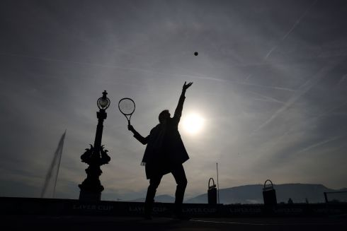 LAVER CUP: Swiss tennis champion Roger Federer of Switzerland serves a ball on February 8th in Geneva during a presentation ahead of the Laver Cup tournament that will take place in Geneva next September. Photograph: Stefan Wermuth/AFP/Getty