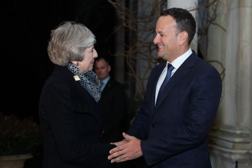 Taoiseach Leo Varadkar greets UK prime mnister Theresa May at the official state guesthouse, Farmleigh House, in Dublin on February 8th Photograph: Maxwell Photography/PA Wire