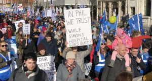 People attend a rally in support of striking nurses in Dublin city centre on Saturday. Photograph: Alan Betson