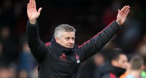 Manchester United's interim manager Ole Gunnar Solskjaer celebrates victory after the Premier League match against Fulham at Craven Cottage. Photo: John Walton/PA Wire