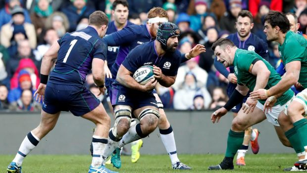 Scotland's Josh Strauss in action against Ireland at Murrayfield. Photograph: Russell Cheyne/Reuters