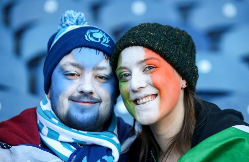 Scotland fan Frazer Grant with Ireland fan Sarah Greene. Credit INPHO/James Crombie