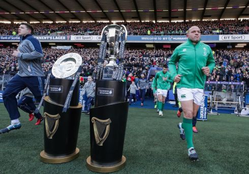 Scotland's Grant Gilchrist and Rory Best of Ireland make their way out Credit INPHO/Billy Stickland
