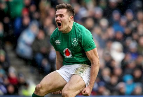 Ireland's Jacob Stockdale celebrates scoring a try. Credit INPHO/Dan Sheridan