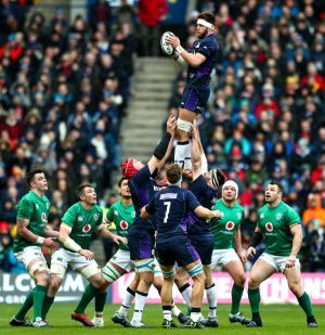 Scotland's Ryan Wilson claims a line out. Credit INPHO/James Crombie