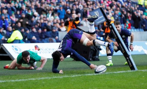 Scotland's Sam Johnson scores a disallowed try  Action Images via Reuters/Lee Smith