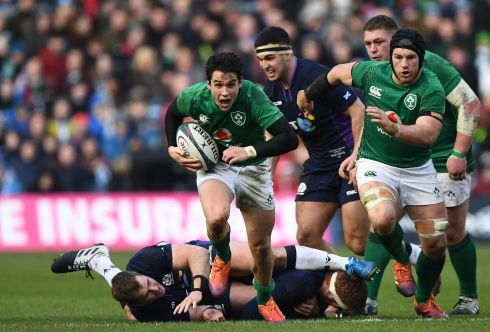 Joey Carbery of Ireland breaks free during the Guinness Six Nations match between Scotland and Ireland. Photo by Stu Forster/Getty Images