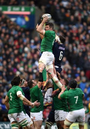 Peter O'Mahony of Ireland and Ryan Wilson of Scotland battle for a line-out during the Guinness Six Nations match between Scotland and Ireland.  Photo by Stu Forster/Getty Images