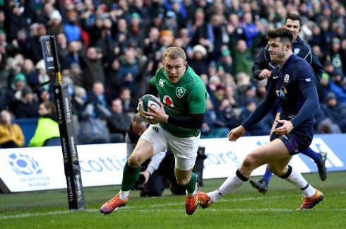 Keith Earls of Ireland scores his sides third try during the Guinness Six Nations match between Scotland and Ireland.  Photo by Stu Forster/Getty Images
