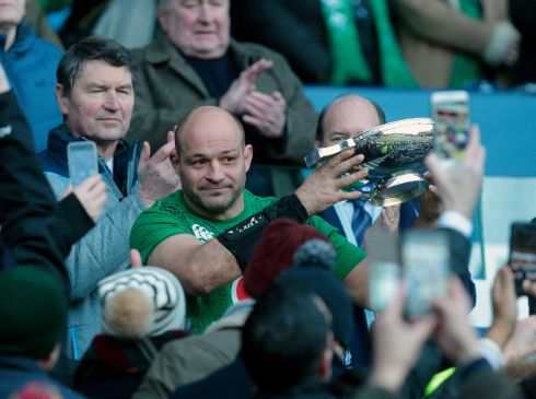 Ireland's Rory Best with the trophy after victory against Scotland during the Guinness Six Nations match at BT Murrayfield, Edinburgh. Photo: Graham Stuart/PA Wire.
