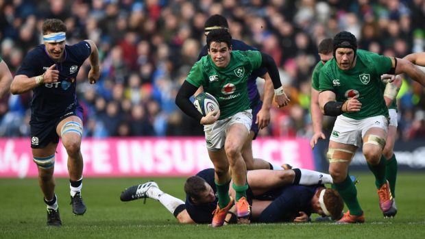 Joey Carbery breaks for Ireland at Murrayfield. Photograph: Stu Forster/Getty