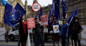 Anti-Brexit protesters in London last month. Photograph: AP Photo/Matt Dunham
