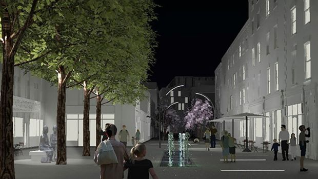 The plans propose the creation of a pedestrian plaza between Strand Street and the quays, with a water feature outside the Woollen Mills cafe. Image: dhb Architects