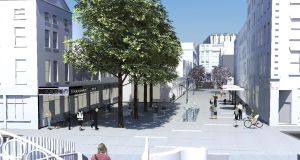 Architects' impression of a pedestrianised Lower Liffey Street. Image: dhb Architects