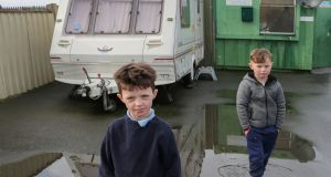 Cousins Connie and Rico Delaney at the Carrowbrowne temporary halting site beside the Headford Road in Galway. Photograph: Joe O'Shughnessy