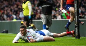Jonny May of England touches down to score their second try during the Six Nations win over France. Photo: James Crombie/Inpho