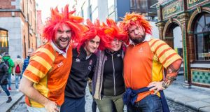 British fans Russel Clarke, Peter Holian, Laura Holian and Phil Erenenko  in Temple Bar, Dublin ahead of the  rugby match. Photograph: James Forde