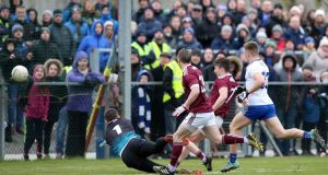 Galway's Johnny Heaney scores the only oal of the match against Monaghan on Sunday. Photograph: John McVitty/Inpho