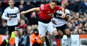 Manchester United's Nemanja Matic in action with Fulham's Ryan Babel during their Premier League clash at Craven Cottage on Saturday. Photograph: Dylan Martinez/Reuters