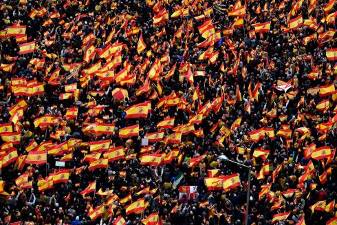 SPANISH NATIONALISTS: Right-wing protesters wave Spanish flags during a demonstration at Plaza de Colon in Madrid against Spanish prime minister Pedro Sanchez, for making what they say are concessions to Catalan separatists. Photograph:  Pierre-Philippe Marcou/AFP/Getty Images
