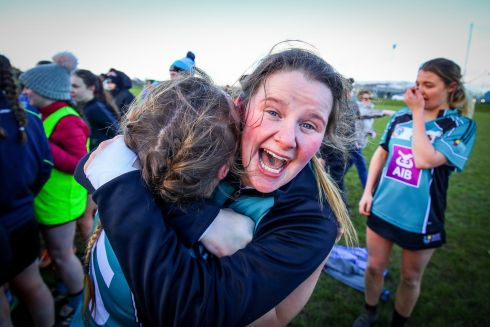SHEER JOY: Maynooth University's Niamh Doyle celebrates after beating NUIG in the Purcell Cup Final at Mallow GAA Complex, Co Cork. Photograph: Oisin Keniry/Inpho