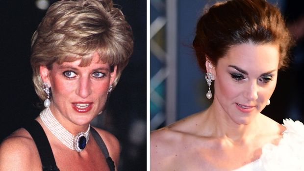 Princess Diana in 1995 and Kate Middleton wearing the same pearl drop earings at the Bafta awards. Photograph: PA Wire