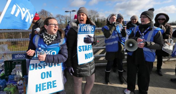 Nurses and members of the INMO on the picket line at James Connolly Memorial Hospital in Blanchardstown, Dublin. Photograph: Colin Keegan/ Collins