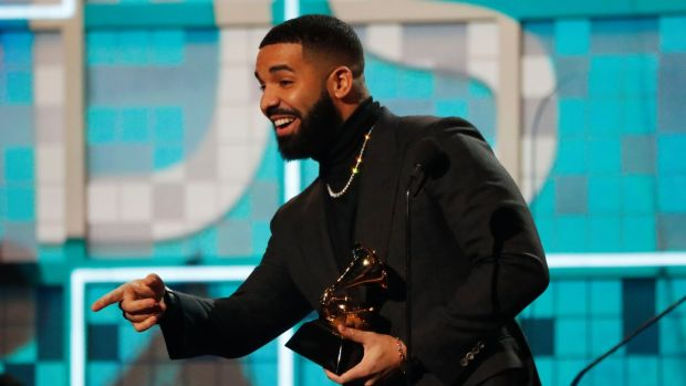 Drake on stage after winning the Best Rap Song Grammy for God's Plan. Photograph: Mike Blake/Reuters