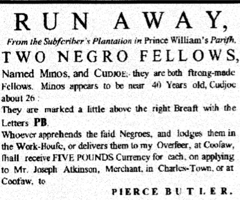 Advert in the South Carolina Gazette, 1772.
