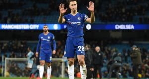 Chelsea's Spanish defender Cesar Azpilicueta after his team's defeat at the Etihad. Photograph: Getty Images