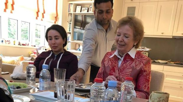 "Sheikha Latifa with Mary Robinson at Latifa's home in Dubai in December. The former president said the princess was safe with her family, but said she was receiving psychiatric care, calling her a ""troubled young woman"" with a ""serious medical condition"". Photograph: United Arab Emirates News Agency/AFP/Getty Images"