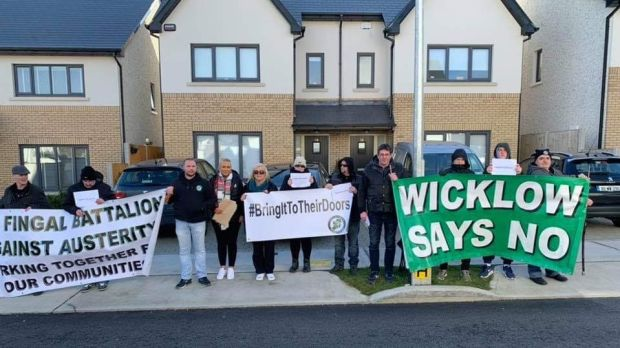An image from the Fingal Battalion Direct Action Group Facebook page showing the protest outside Simon Harris's home on Sunday.