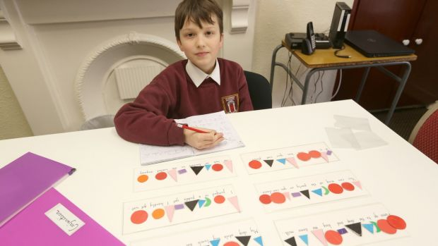 Alex Mantoy in class at The Georgian Montessori primary school in Belvedere Place, Dublin. Photograph: Laura Hutton