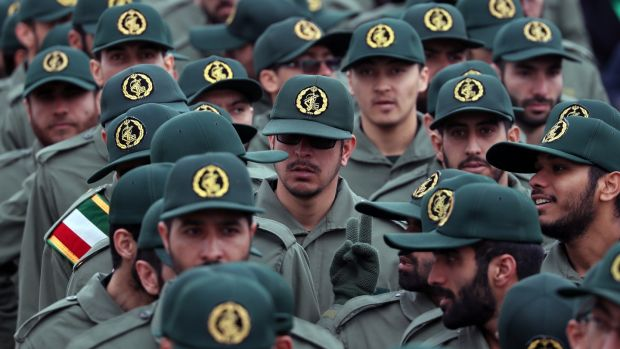 Members of the Iranian Revolutionary Guard arrive for a ceremony marking the 40th anniversary of the 1979 Islamic Revolution in Tehran. Photograph: Abedin Taherkenareh/EPA