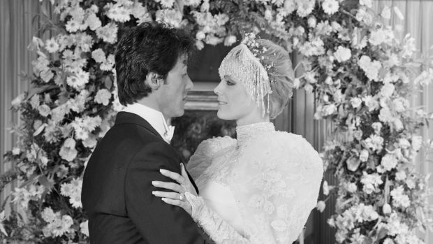 (Original Caption) Sylvester Stallone and Brigitte Nielsen are photographed here immediately following their wedding ceremony