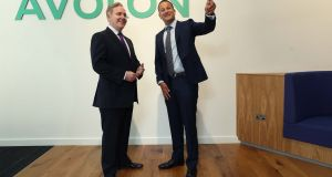An Taoiseach Leo Varadkar and Dómhnal Slattery, chief executive of Avolon, pictured at the official opening of the company's new headquarters in Ballsbridge. Photograph: Robbie Reynolds