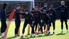 Manchester United's train ahead of their Champions League Round of 16 meeting with Paris Saint-Germain at Old Trafford. Photo: Franck Fife/Getty Images