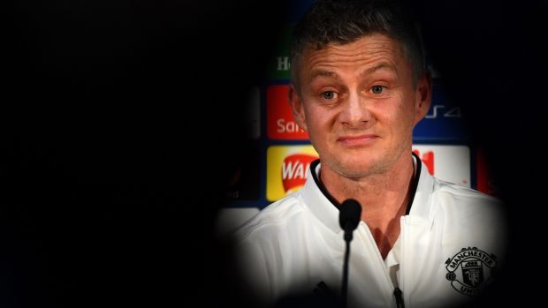 Manchester United's caretaker manager Ole Gunnar Solskjaer attends a press conference at Old Trafford ahead of the Champions League Round of 16 clash with Paris Saint-Germain. Photo: Franck Fife/Getty Images